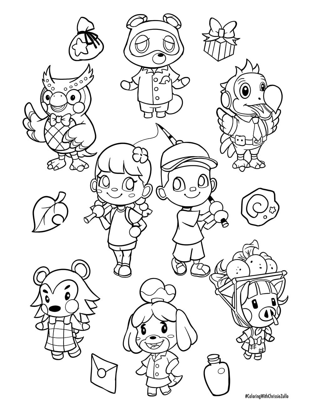 Animal Crossing Coloring Sheet By Chrissie Zullo Rose City Comic Con